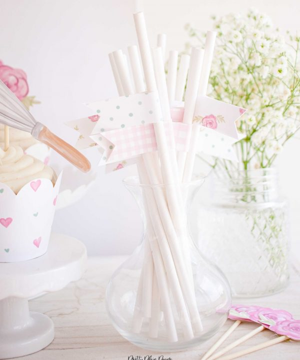 Cake Party Straw Flags, Have your cake and eat it two party, Cake Decorating Party Printables by Pretty Plain Paper