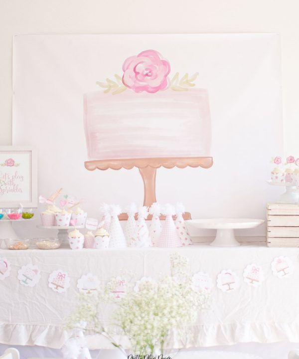 Cake Party Backdrop, Have your cake and eat it two party, Cake Decorating Party Printables by Pretty Plain Paper
