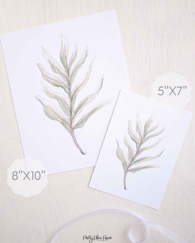 Watercolor Botanical Fern Print Set by Pretty Plain Paper Prinable Download