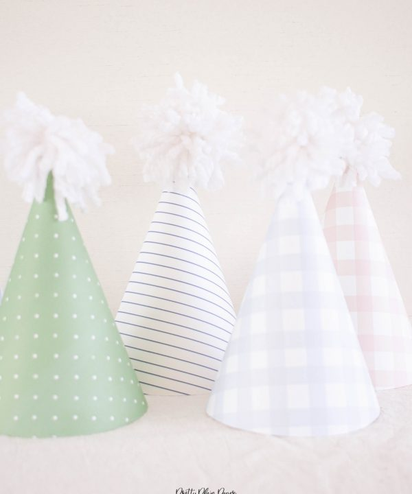 Pattern Gingham, Stripe, and Polka Dot Party Hats Printable by Pretty Plain Paper