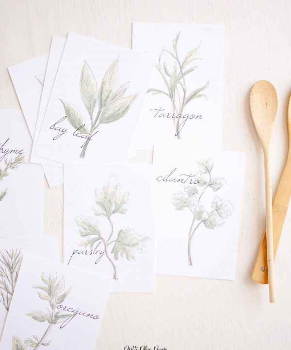 Watercolor Kitchen Herb Print Set by Pretty Plain Paper Printable Download