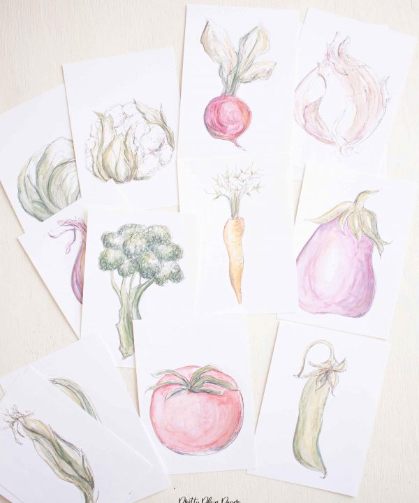 Watercolor Vegetable Veggies Print Set for Kitchen Dining by Pretty Plain Paper Printable Download