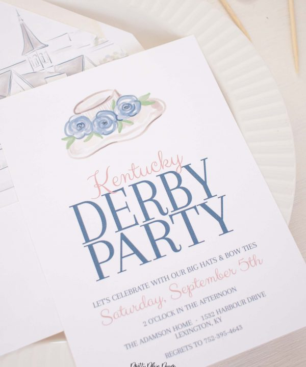 Fancy Hat Kentucky Derby Tea Party Invitation Printable by Pretty Plain Paper