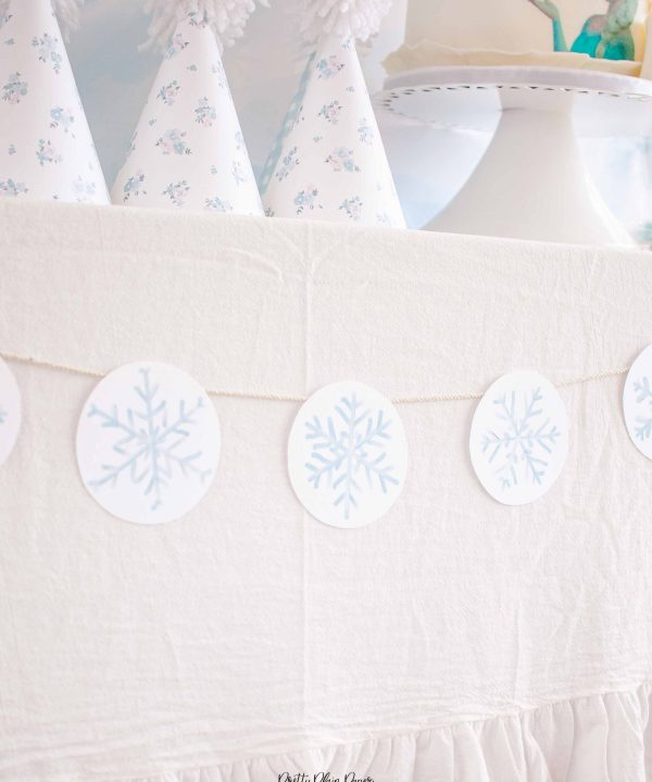 Snowflake Banner Party Printable by Pretty Plain Paper
