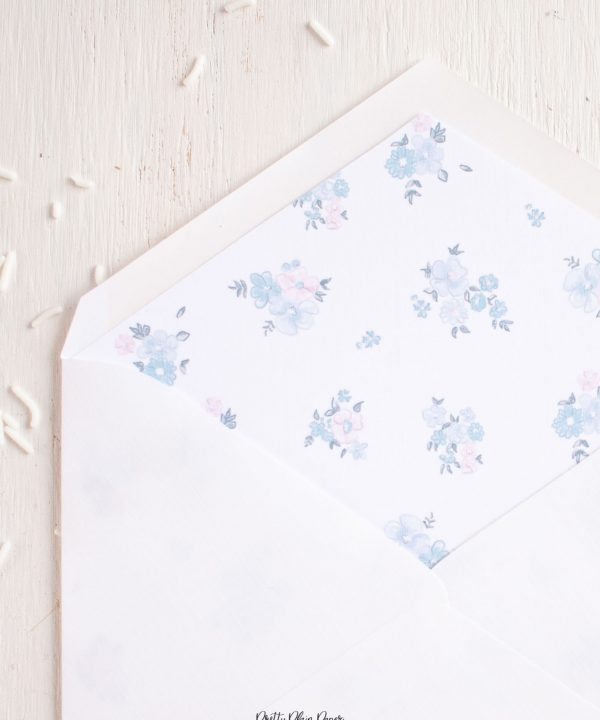 Watercolor Blue Floral Invitation Envelope Liner Printable by Pretty Plain Paper