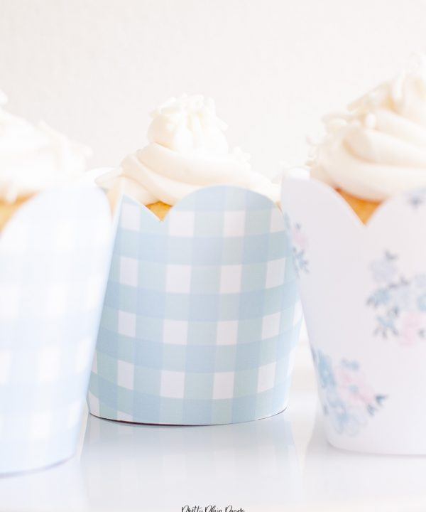 Blue floral and gingham printable cupcake wrappers by Pretty Plain Paper