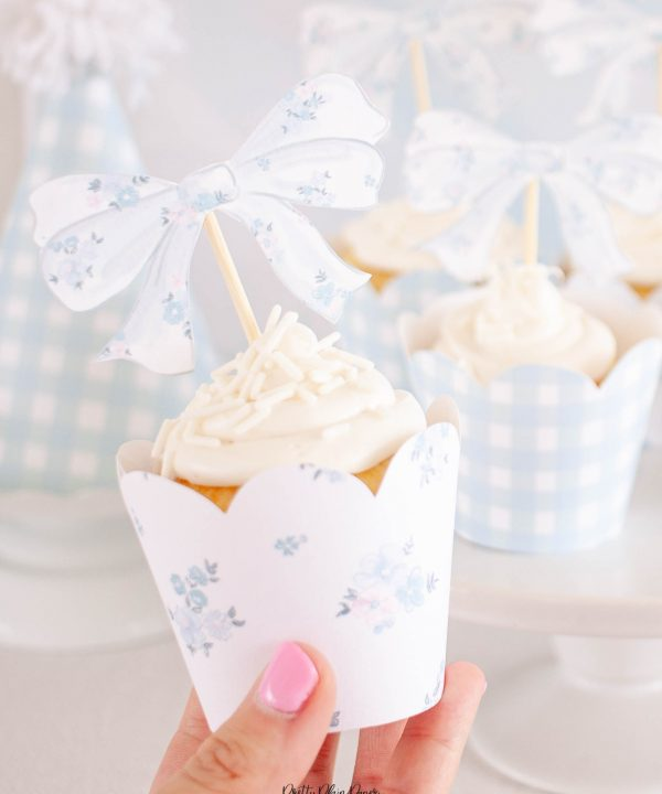 Floral Blue Bow Cupcake Topper Printables by Pretty Plain Paper