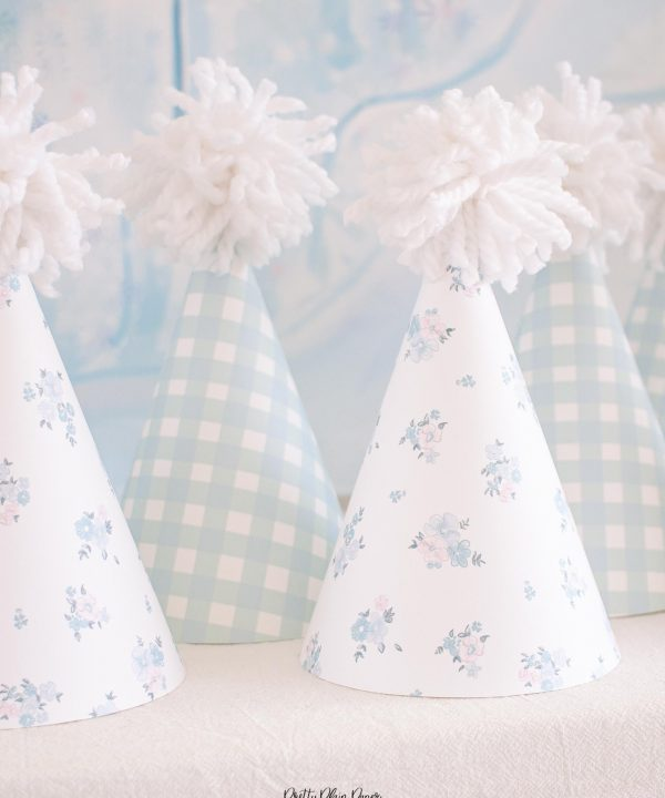Blue Gingham and Floral Party Hats Printable by Pretty Plain Paper