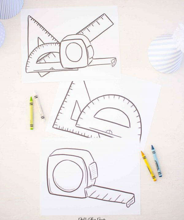 Printable Tape Measure, Ruler, and Tools Coloring Pages by Pretty Plain Paper