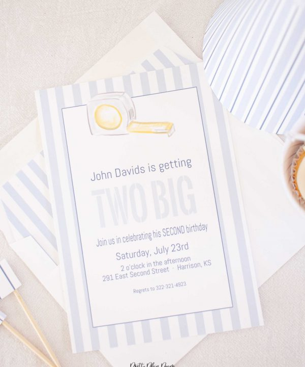 Tape Measures, Rulers, and Measuring Invitation; I'm Getting Two 2 Big Party, Blue Gingham & Blue Stripe Printable Invitation by Pretty Plain Paper