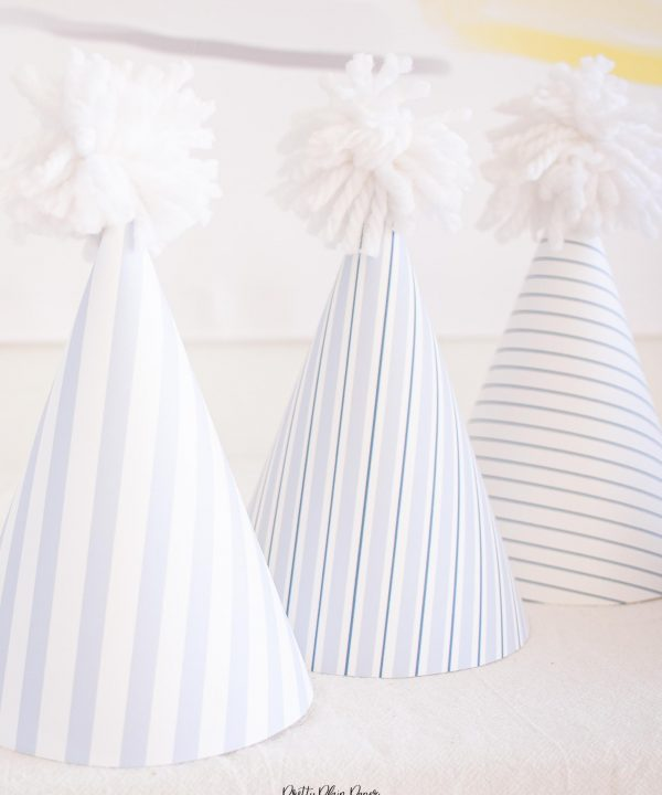 Printable Pattern Party Hats, Blue Gingham and Blue Stripe by Pretty Plain Paper