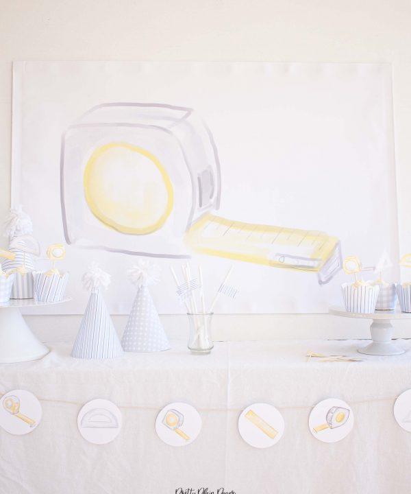 Tape Measure Watercolor Party Backdrop by Pretty Plain Paper