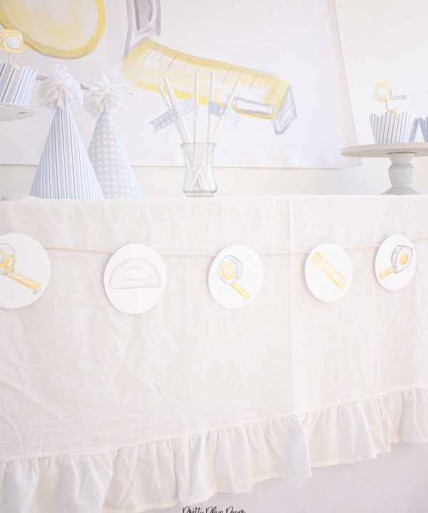 Tape Measures & Rulers Watercolor Printable Banner by Pretty Plain Paper