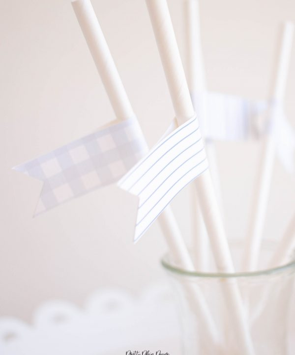 Printable Straw Flag Toppers, Blue Patterns by Pretty Plain Paper