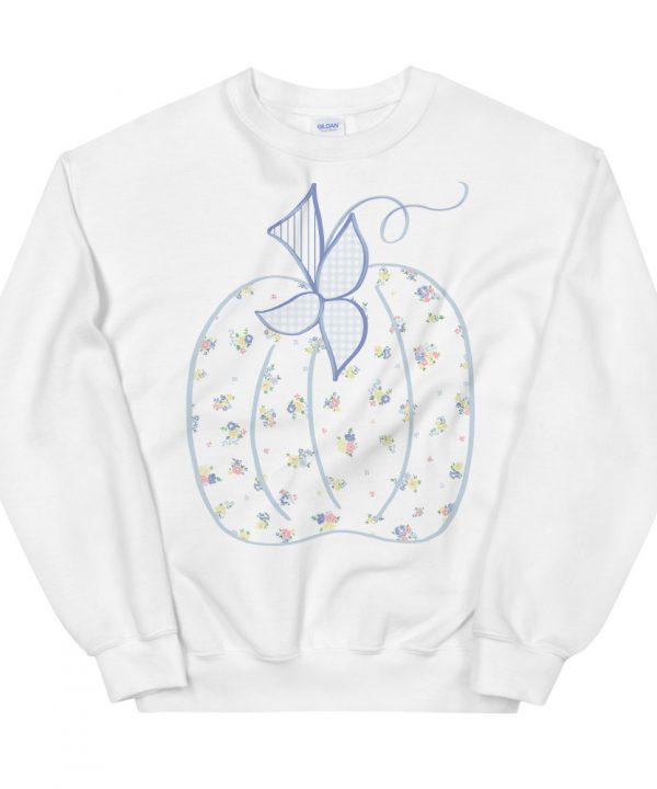 Hand Drawn Watercolor Blue Floral Pumpkin Sweatshirt, T-shirt by Pretty Plain Paper