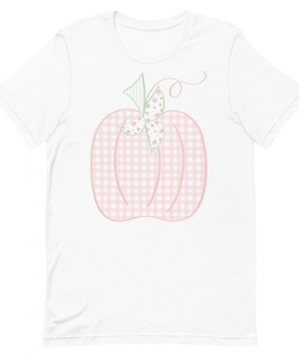 Gingham Watercolor Pumpkin Patch Hand Drawn T-Shirt by Pretty Plain Paper