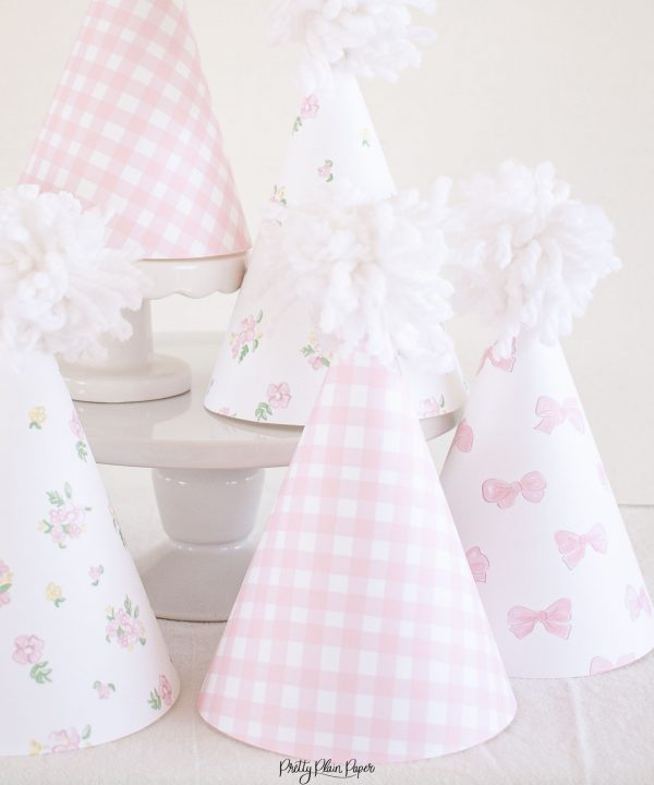 Pink Gingham, Floral and Bow Printable Party Hats by Pretty Plain Paper