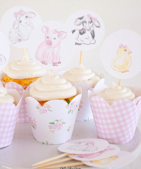 Watercolor Farm Animal Cupcake Toppers by Pretty Plain Paper