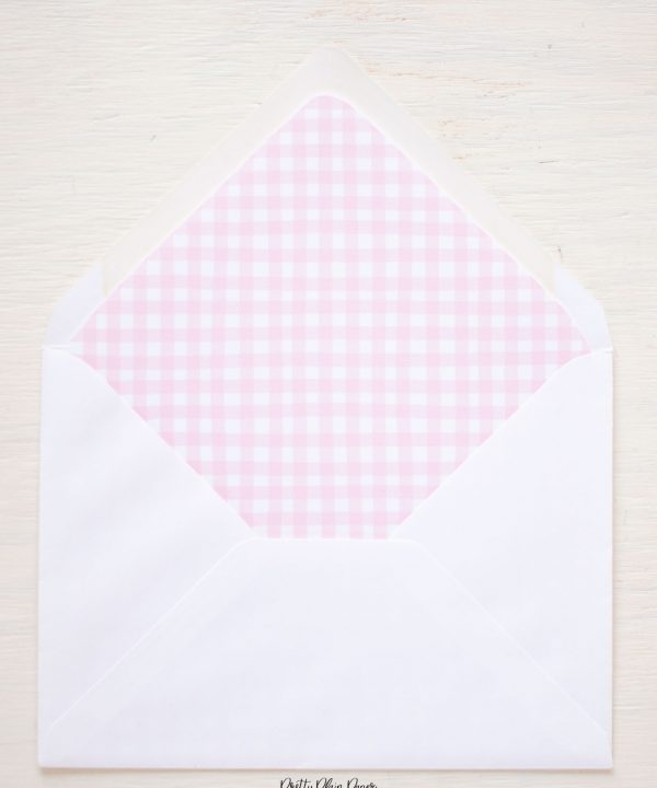 Pink Gingham Printable Envelope Liner by Pretty Plain Paper