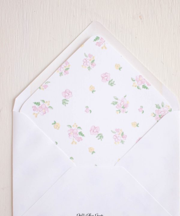Pink Floral Printable Envelope Liner by Pretty Plain Paper