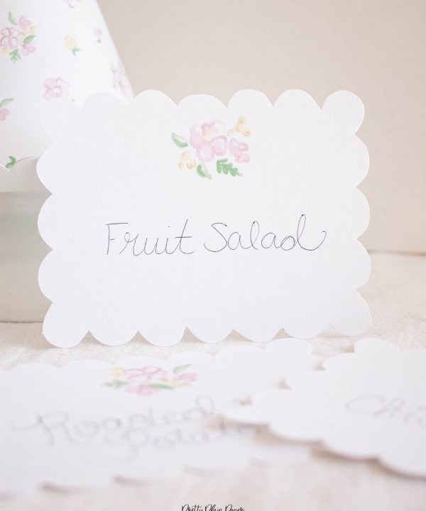 Pink Floral Scallop Printable Food and Beverage Labels by Pretty Plain Paper