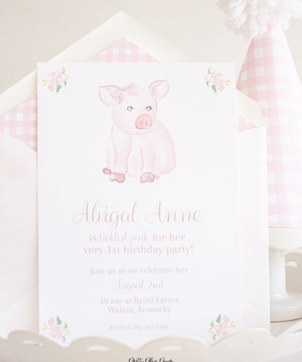 Watercolor Pink Pig with Bow Birthday Invitation Printable by Pretty Plain Paper