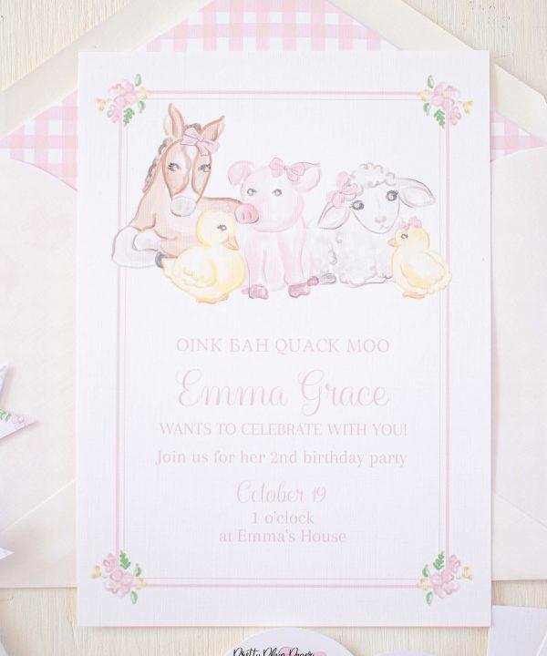 Watercolor Farm Animals Pink Girly Printable Birthday Invitation by Pretty Plain Paper