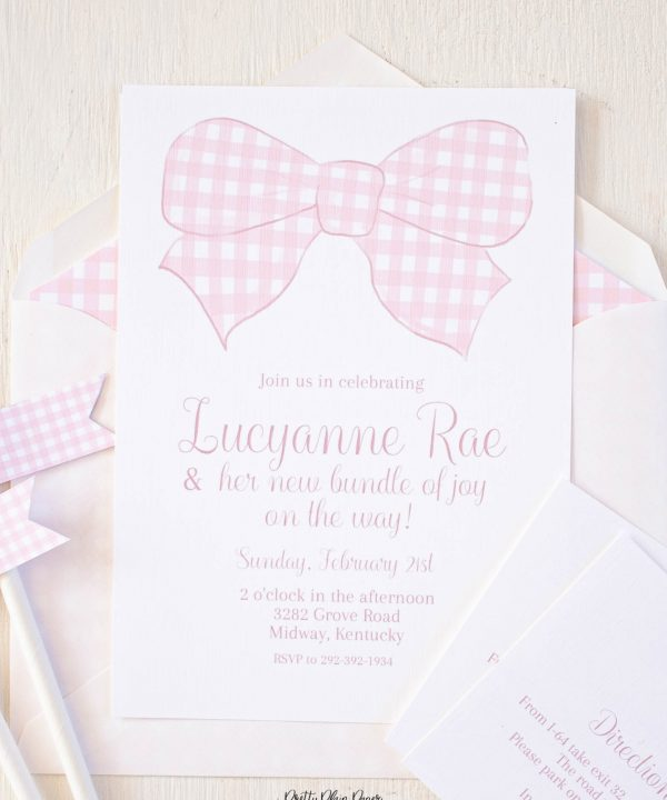 Pink Gingham Bow Watercolor Invitation by Pretty Plain Paper