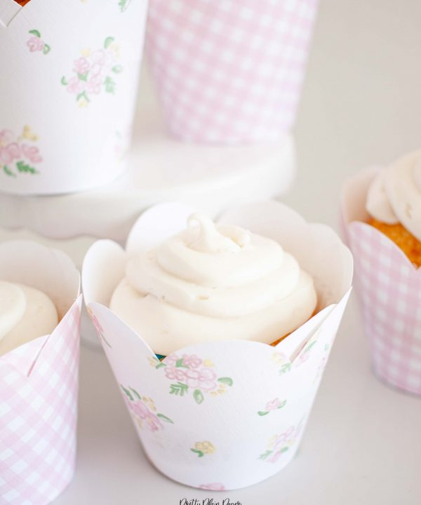 Pink Gingham & Pink Floral Printable Cupcake Wrappers by Pretty Plain Paper