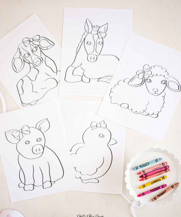 Farm Animals Coloring Pages for Girly Farm Party for Girl by Pretty Plain Paper