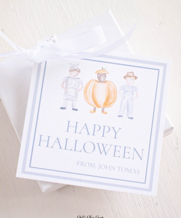 Watercolor Trick or Treaters Little Boys in Costume Halloween Favor, Treat, Gift Tag by Pretty Plain Paper
