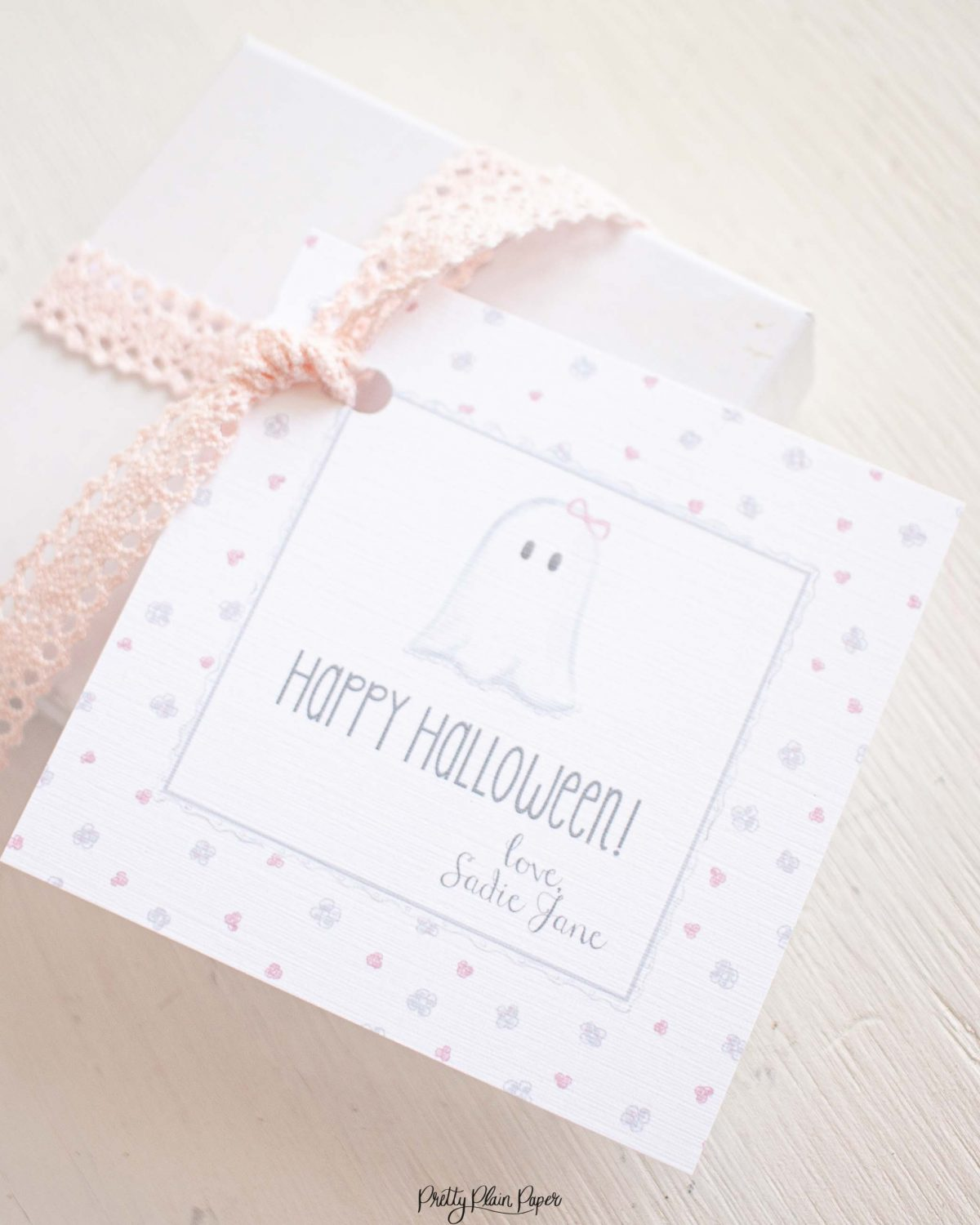 Watercolor Floral Ghost with Bow Halloween Favor, Treat, Gift Tag by Pretty Plain Paper