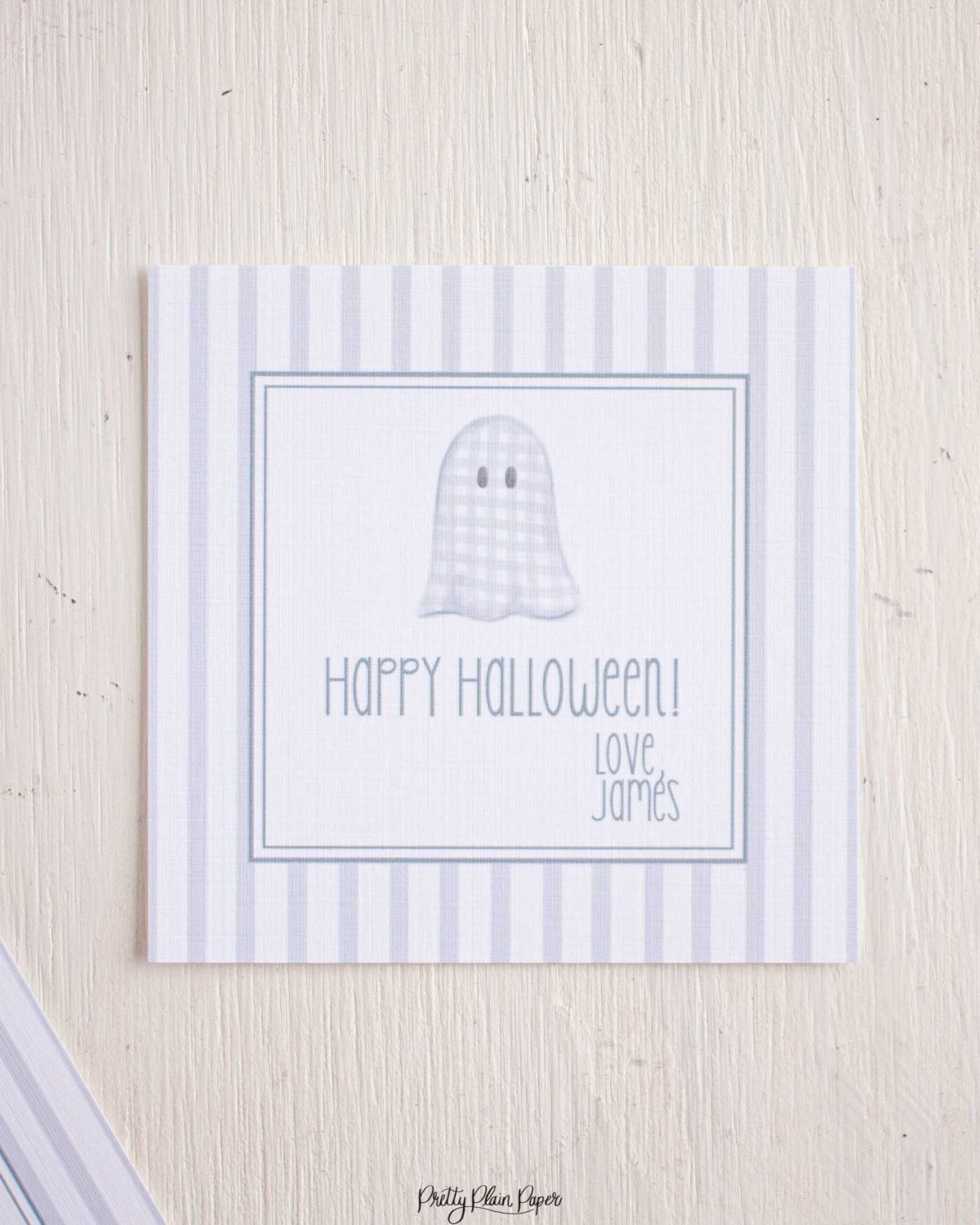 Watercolor Floral Ghost with Stripes Halloween Favor, Treat, Gift Tag by Pretty Plain Paper