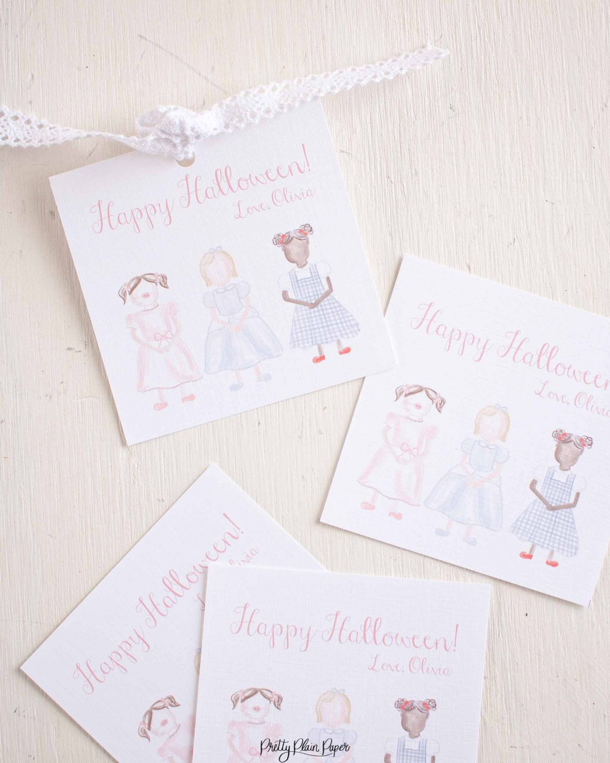 Watercolor Trick or Treaters Little Girls in Costume Halloween Favor, Treat, Gift Tag by Pretty Plain Paper