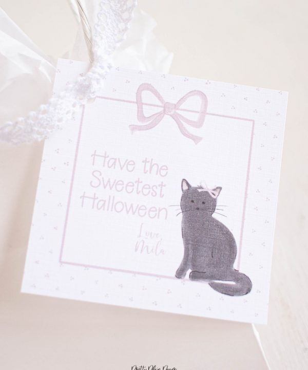 Watercolor Black Cat with Bow Halloween Favor, Treat, Gift Tag by Pretty Plain Paper