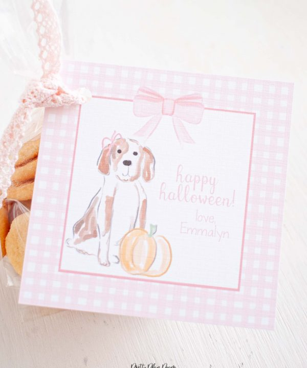 Watercolor Puppies, Pink Pumpkin, and Gingham Halloween Favor, Treat, Gift Tag by Pretty Plain Paper