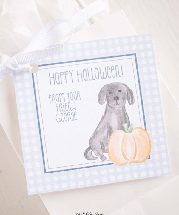 Watercolor Puppies, Pumpkin, and Blue Gingham Halloween Favor, Treat, Gift Tag by Pretty Plain Paper