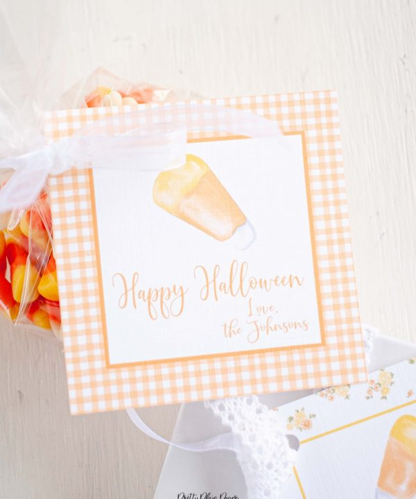 Watercolor Candy Corn & Orange Gingham Halloween Favor, Treat, Gift Tag by Pretty Plain Paper