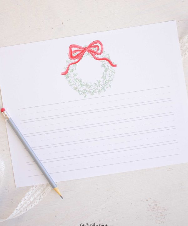 Watercolor Christmas Stationary for Kids, Letter to Santa Template, Christmas Wish List Downloadable Printable by Pretty Plain Paper