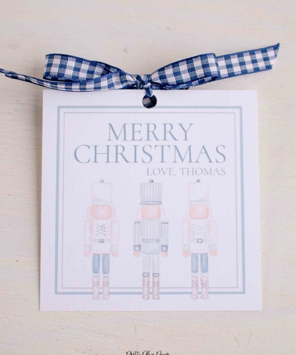 Watercolor Christmas Gift Tag Printables by Pretty Plain Paper; Watercolor Blue Nutcrackers