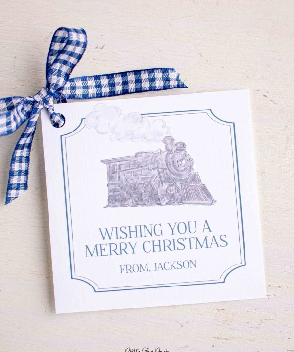 Watercolor Christmas Gift Tag Printables by Pretty Plain Paper; Watercolor Polar Express Christmas Train
