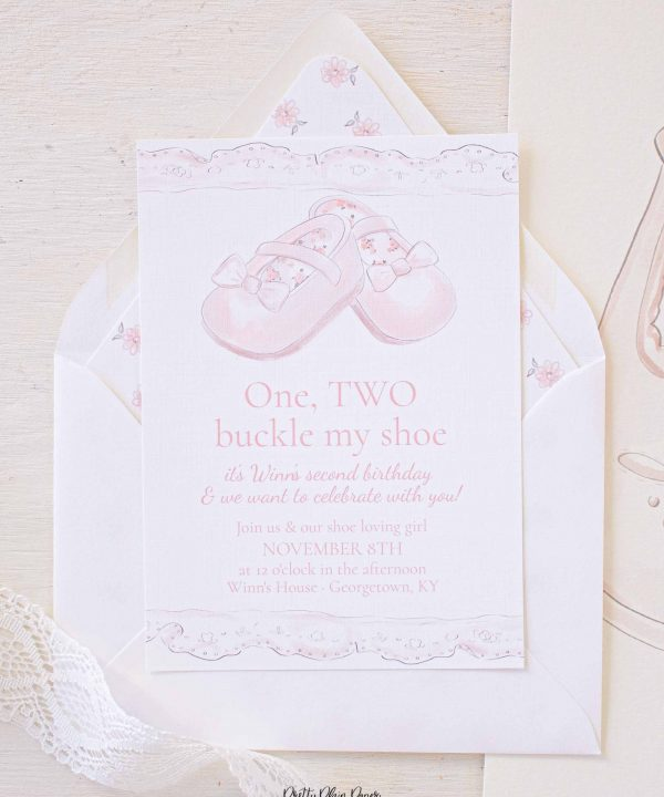 One two buckle my shoe birthday party invitation for a one two buckle my shoe party. Watercolor party printables by Pretty Plain Paper