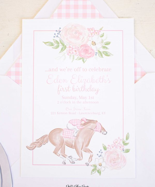 Girly Watercolor Kentucky Derby Invitation for a Pink Horseracing Party by Pretty Plain Paper