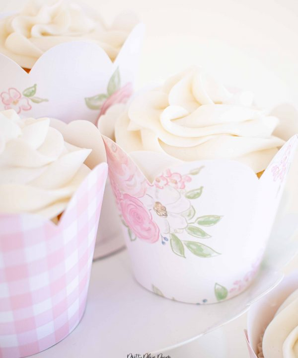 Pink Floral and Pink Gingham Cupcake Wrappers by Pretty Plain Paper