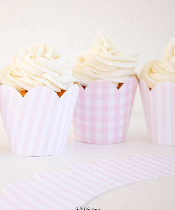 Pink Gingham Cupcake Wrappers and Pink Stripe Cupcake Wrappers with Scallop Edge by Pretty Plain Paper