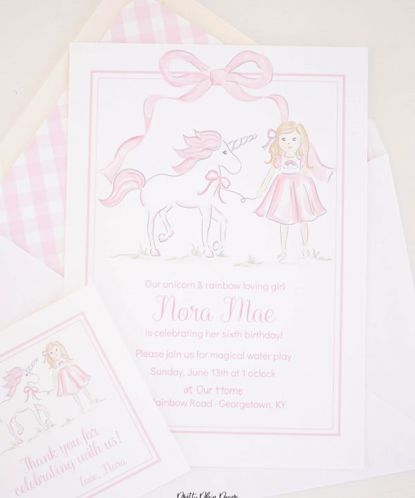 Watercolor Pink Unicorn Birthday Invitation by Pretty Plain Paper for a Rainbow, Unicorns and Bows Birthday Party with Pink Gingham