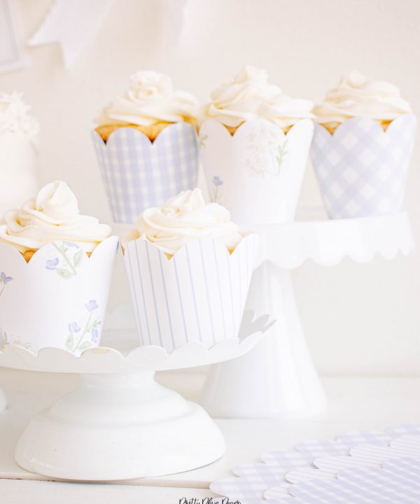 Watercolor Blue Gingham, Blue Stripe, and Blue Floral Scallop Edge Cupcake Wrappers by Pretty Plain Paper