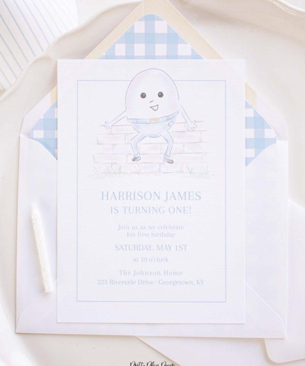 Humpty Dumpty Invitation by Pretty Plain Paper for a Humpty Dumpty Birthday or Baby Shower